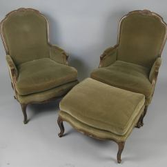 French Provincial Chair And Ottoman Cheap Plastic Patio Chairs Pair Of Style Velvet Lounge At