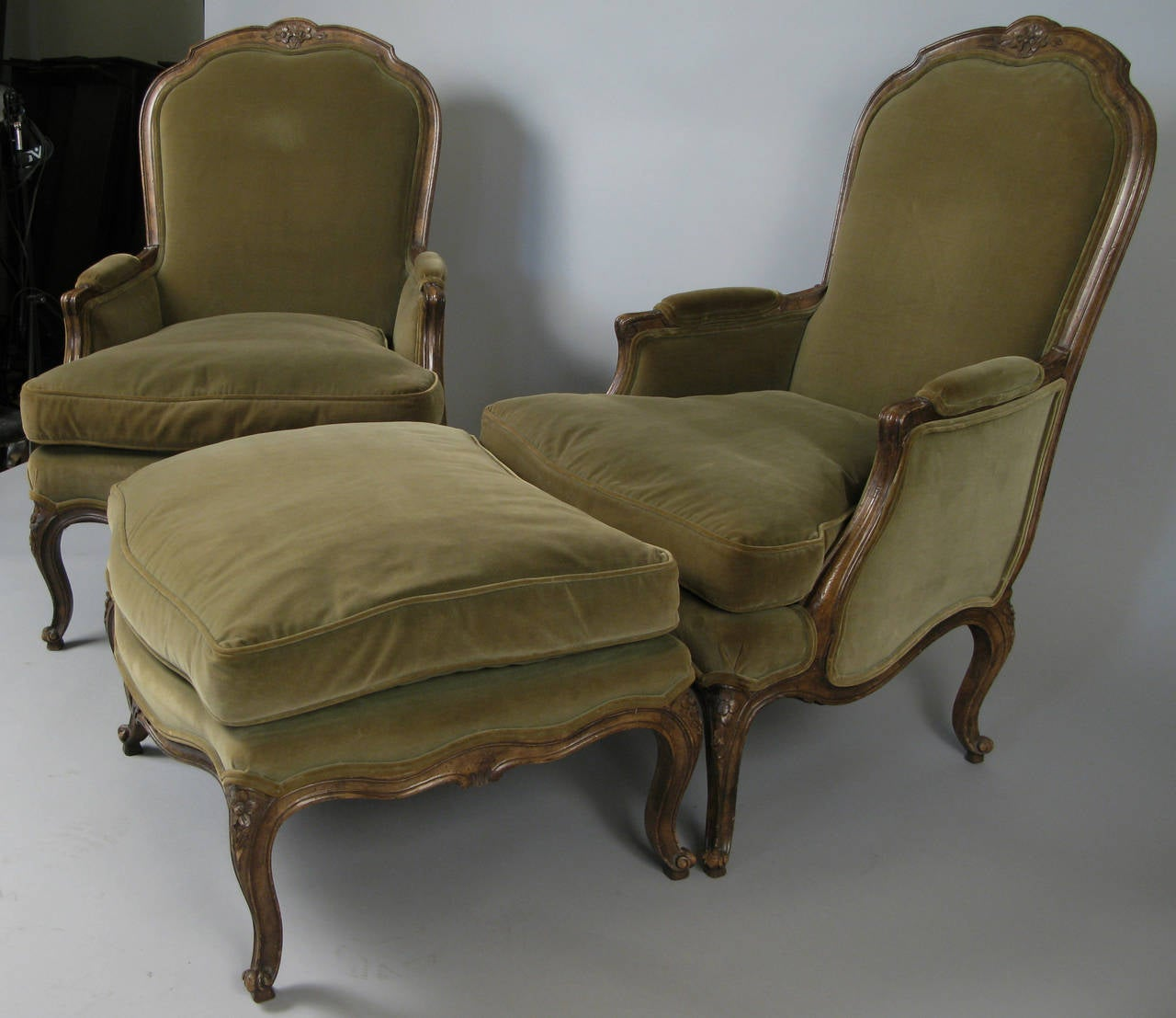 french provincial chair and ottoman kmart office mat pair of style velvet lounge chairs at