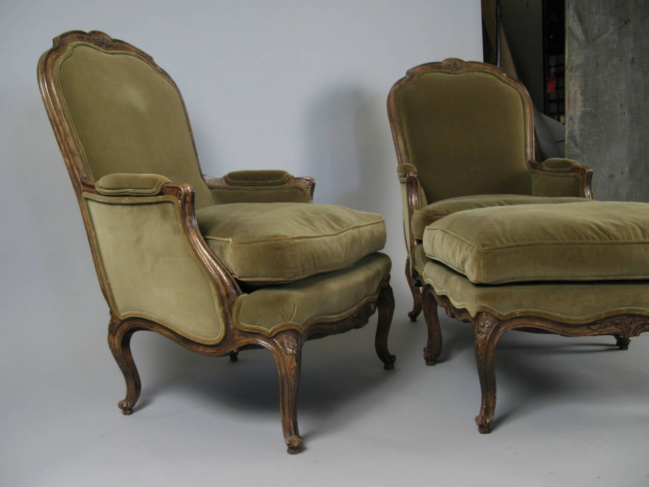 french provincial chair and ottoman ice fishing with rod holder pair of style velvet lounge chairs at