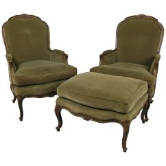 French Velvet Chair Swing Metal Stand Pair Of Style Lounge Chairs And Ottoman At