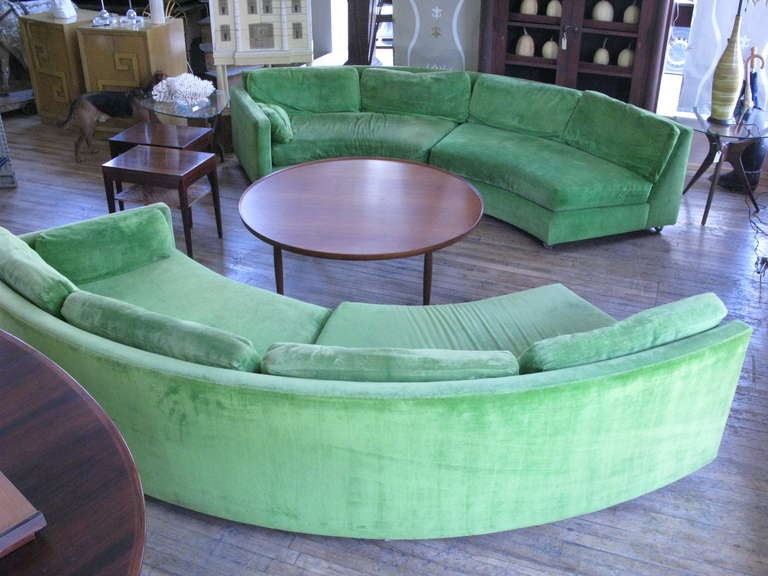 down filled leather sectional sofa carlyle locations semi circular curved by milo baughman at ...