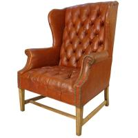 Vintage Tufted Leather Wing Chair at 1stdibs