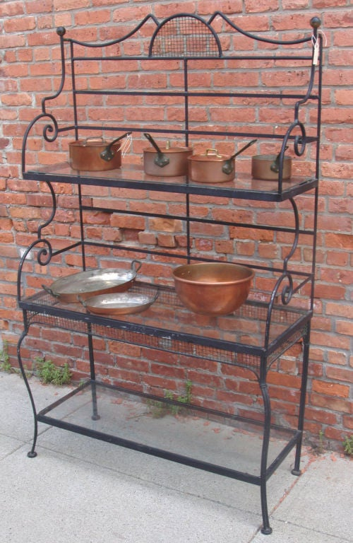 black metal patio chairs old farmhouse table and vintage iron baker's rack by woodard at 1stdibs