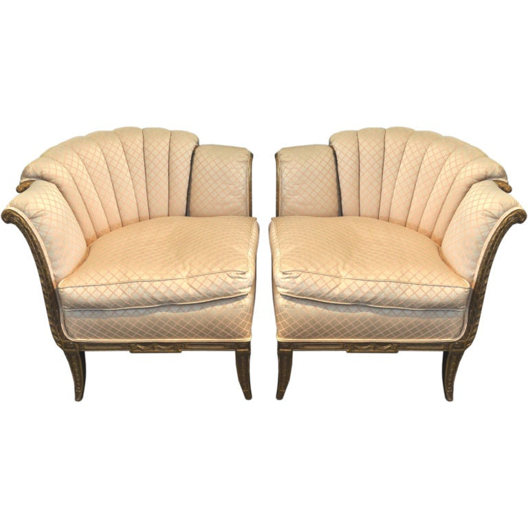 Pair of Channel Lowback Upholstered CornerChairsSmall