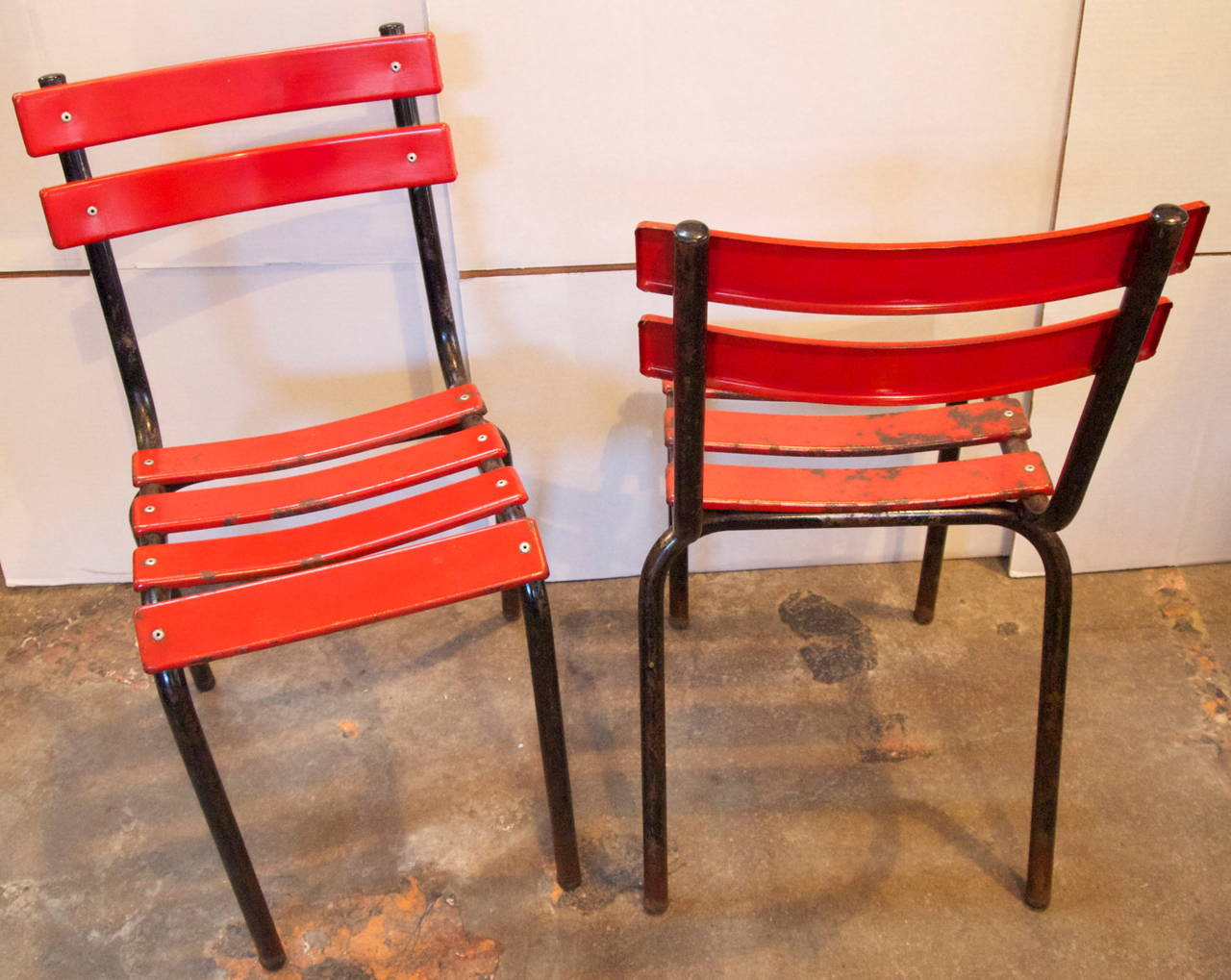 cafe chairs metal rocky folding chair set of four french industrial bistro at 1stdibs