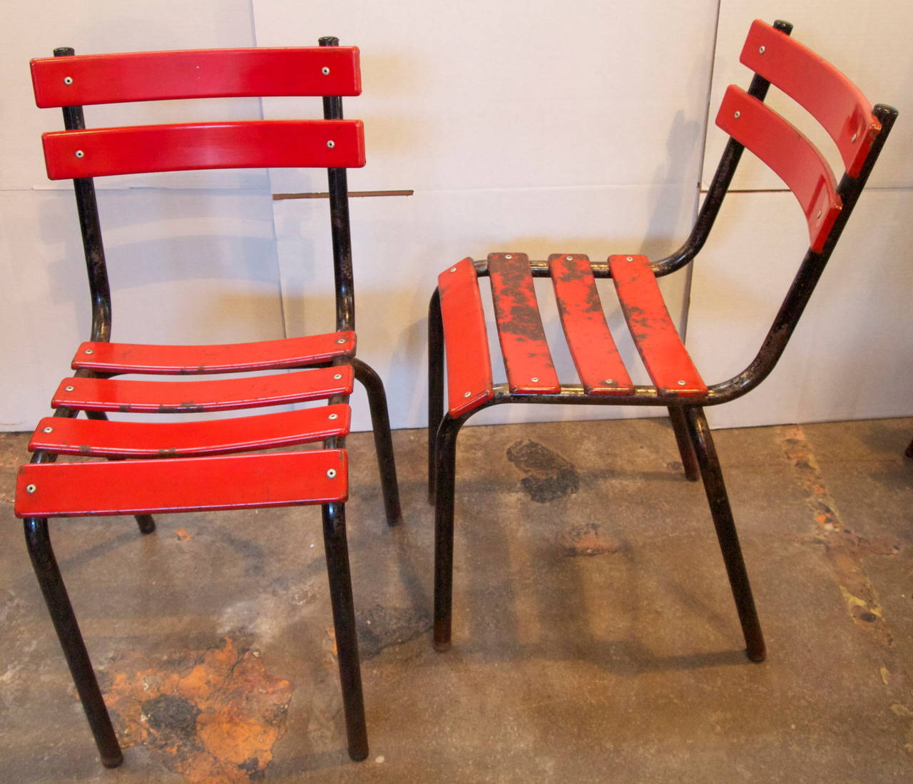 industrial bistro chairs chair lift design set of four french metal at 1stdibs