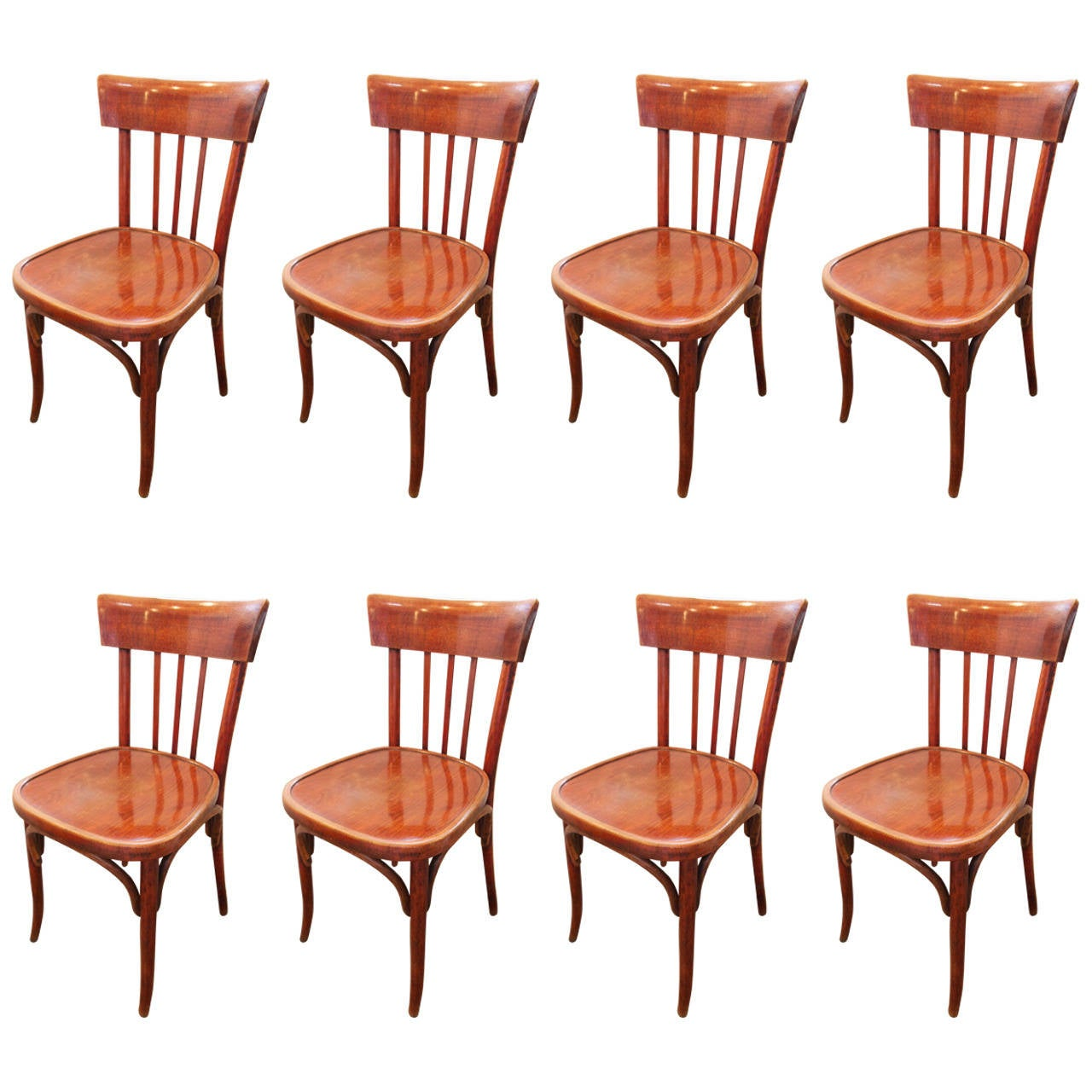 plastic bentwood bistro chairs swing chair cane set of eight french at 1stdibs