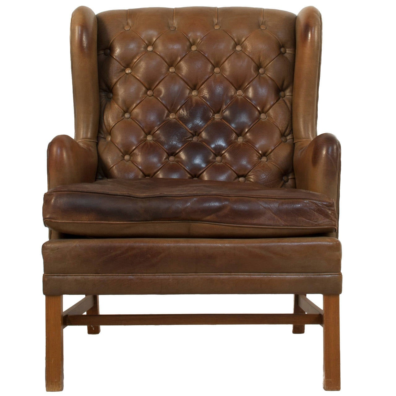 tufted leather wingback chair best outdoor rocking for sale at 1stdibs