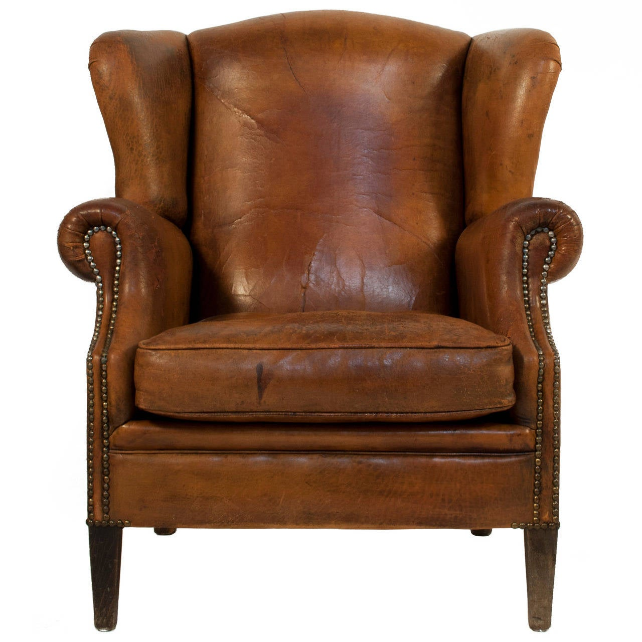 Leather Wing Back Chair Leather Wingback Chair At 1stdibs