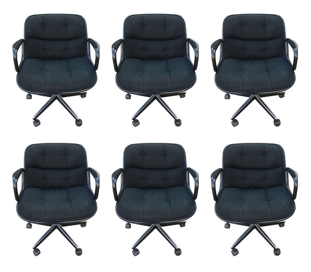 knoll office chair parts global upholstery set of 6 executive pollock chairs by charles for