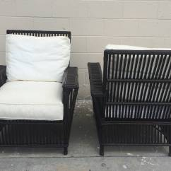 White Upholstered Chairs Where To Buy Gaming Fantastic Pair Of Wicker Bamboo Patio