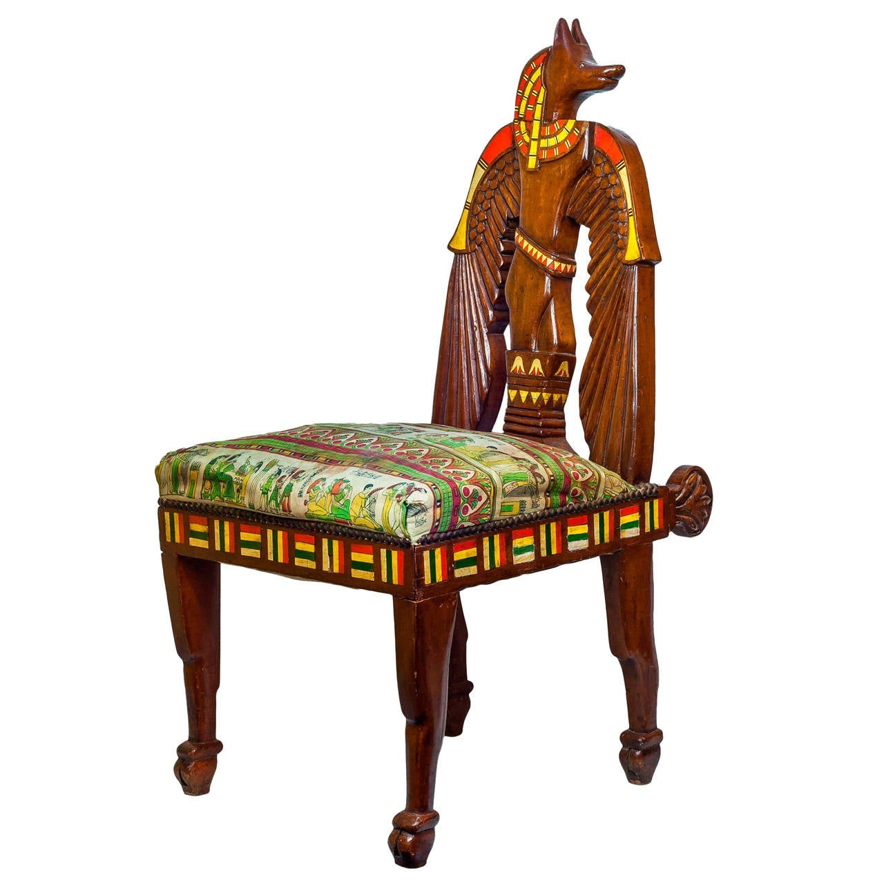 Unusual Chairs Unusual Egyptian Revival Inlaid Figural Side Chair For
