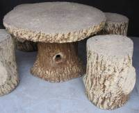 Faux Bois Garden Stone Set, Table and Four Stools For Sale ...