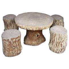 Stool Chair Garden White Plastic Outdoor Chairs Faux Bois Stone Set Table And Four Stools For Sale