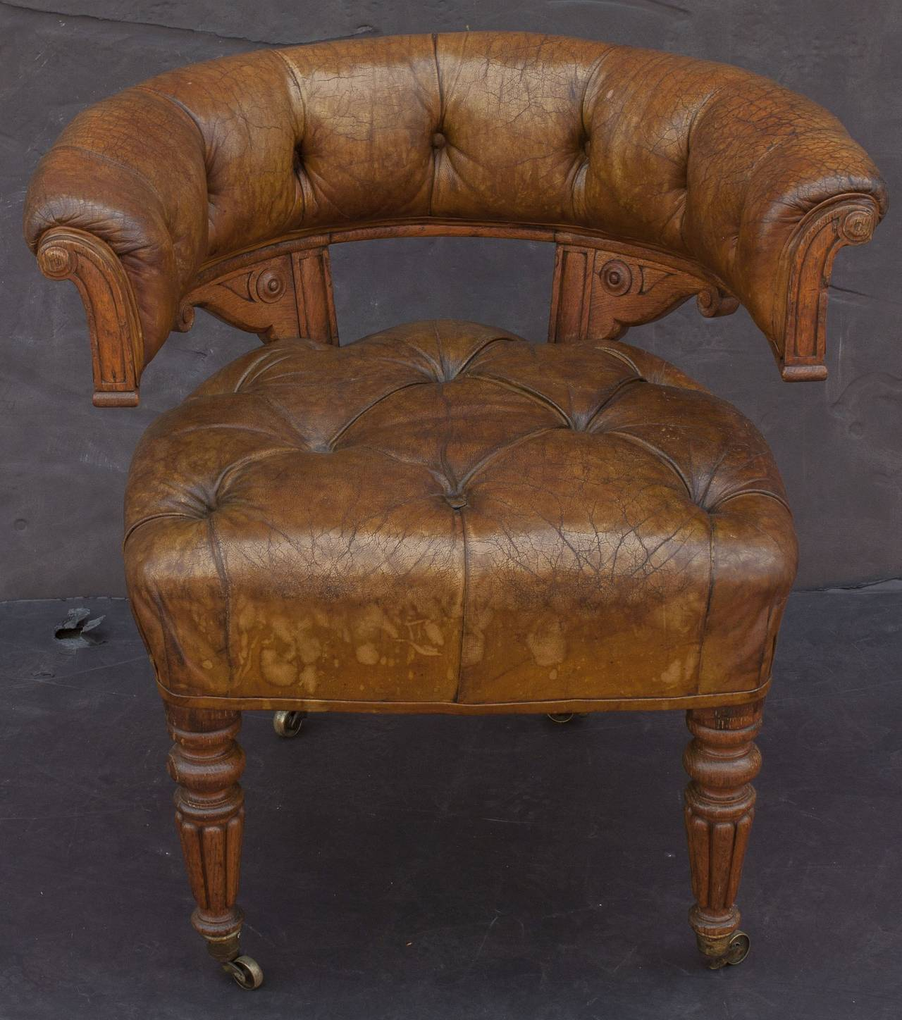 tufted desk chair chairs and stools english leather at 1stdibs