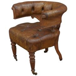 Desk Chair Leather Office Pads English Tufted At 1stdibs