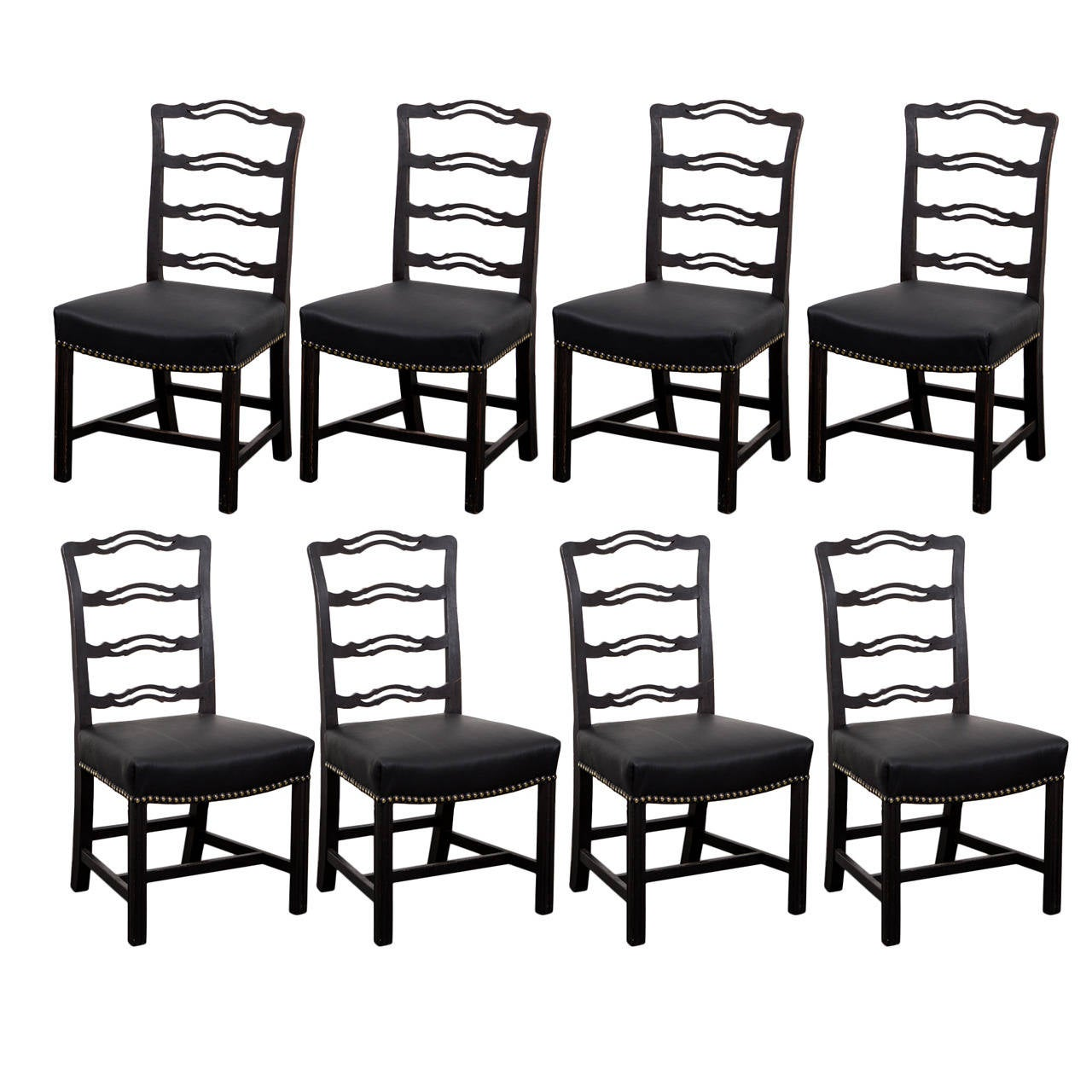Black Chairs For Sale Set Of Eight English Black Dining Chairs For Sale At 1stdibs