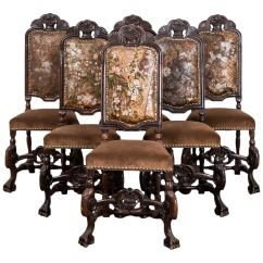 Set Of Six Dining Chairs For Sale Gray Wood Baroque Style At 1stdibs