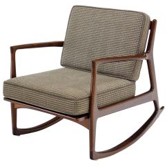 Danish Modern Rocking Chair Brown Office Guest Chairs Mid Century By Selig At 1stdibs