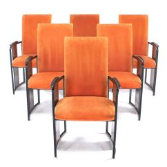 Modern Metal Chairs Steel Lounge Chair Set Of Six Mid Century And Rosewood Frame
