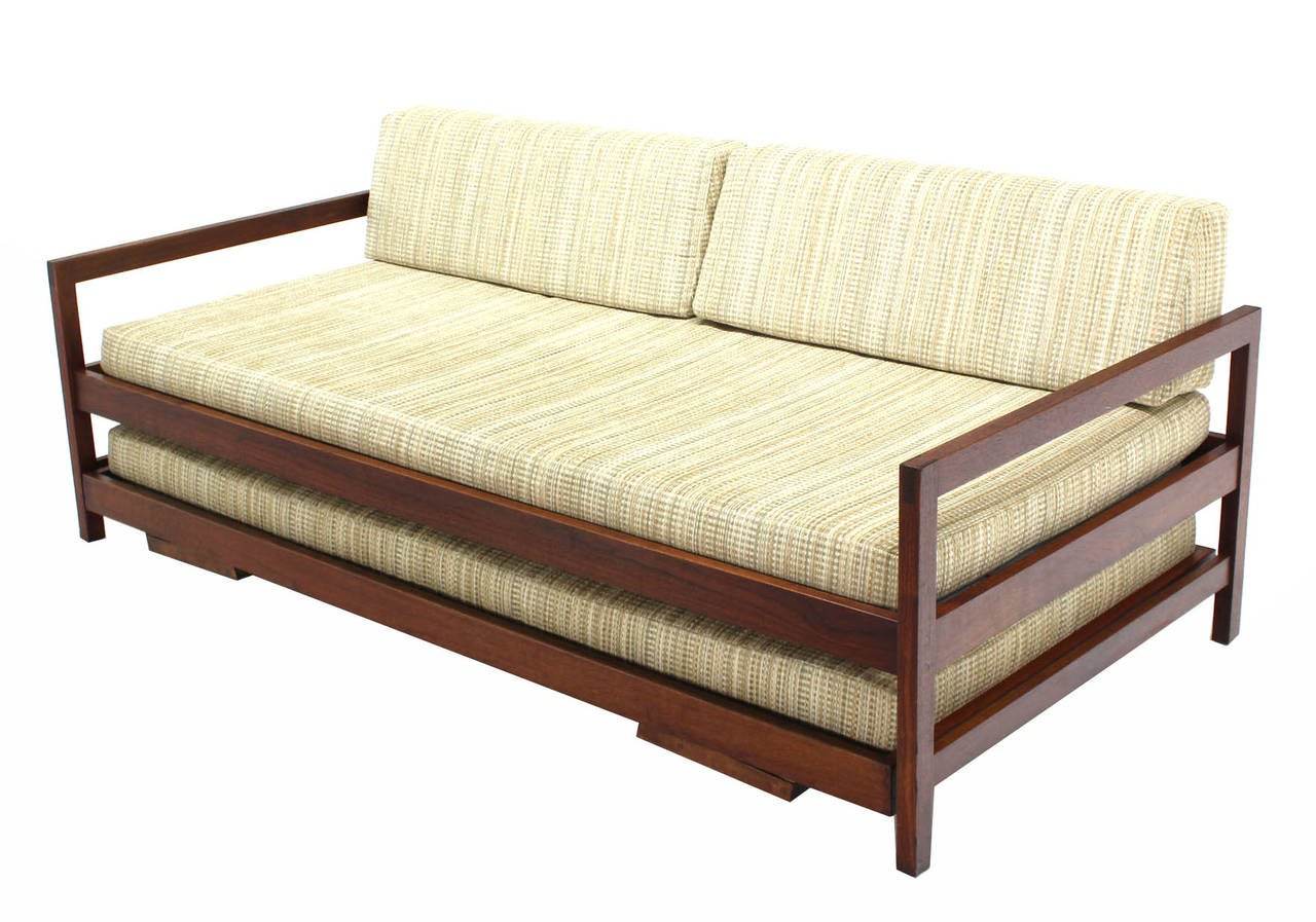 Solid Walnut Frame Mid Century Modern Trundle Pull Out