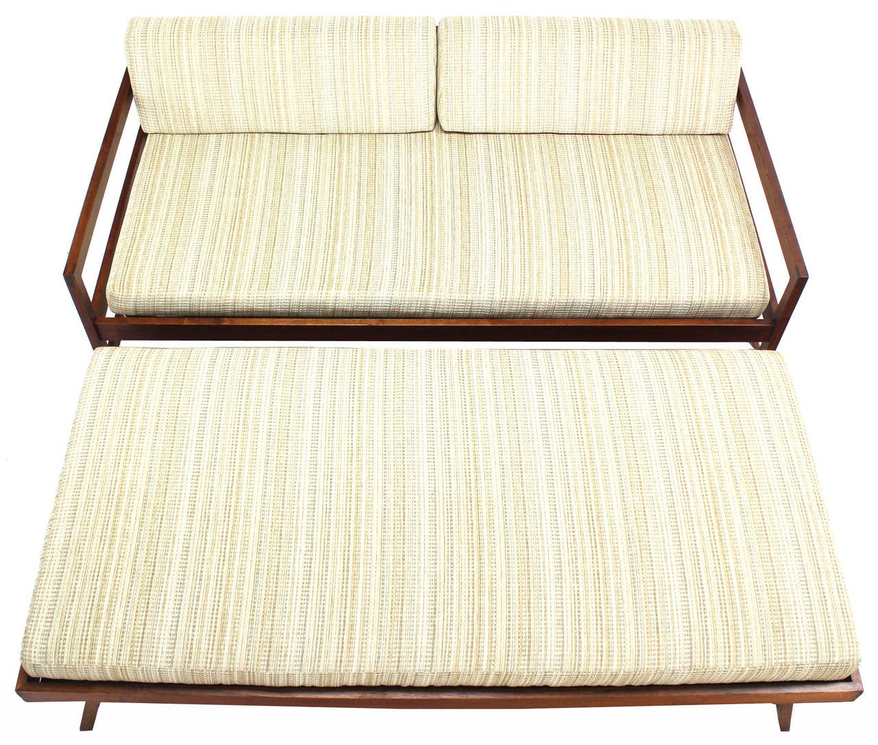 lounger sofa with pull out trundle black cushion covers solid walnut frame mid century modern