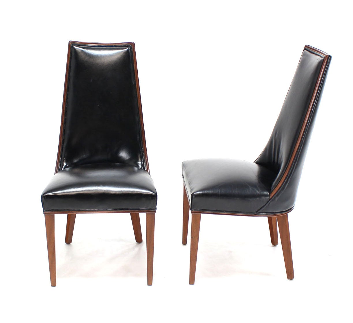 tall dining chairs tan leather set of six back high quality
