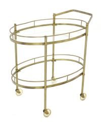Oval Brass amd Glass Tea Cart on Wheels For Sale at 1stdibs