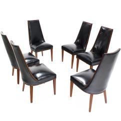 Tall Dining Chairs Revolving Chair Base With Wheels Set Of Six Back High Quality Leather