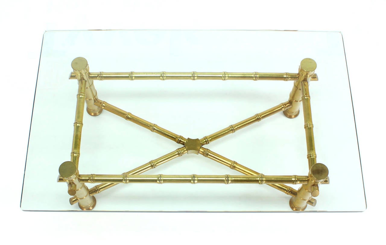 Gold Leaf Faux Bamboo Base Coffee Table with Thick Glass
