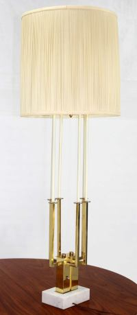 Mid Century Modern Tall Brass and Marble Base Table Lamp ...