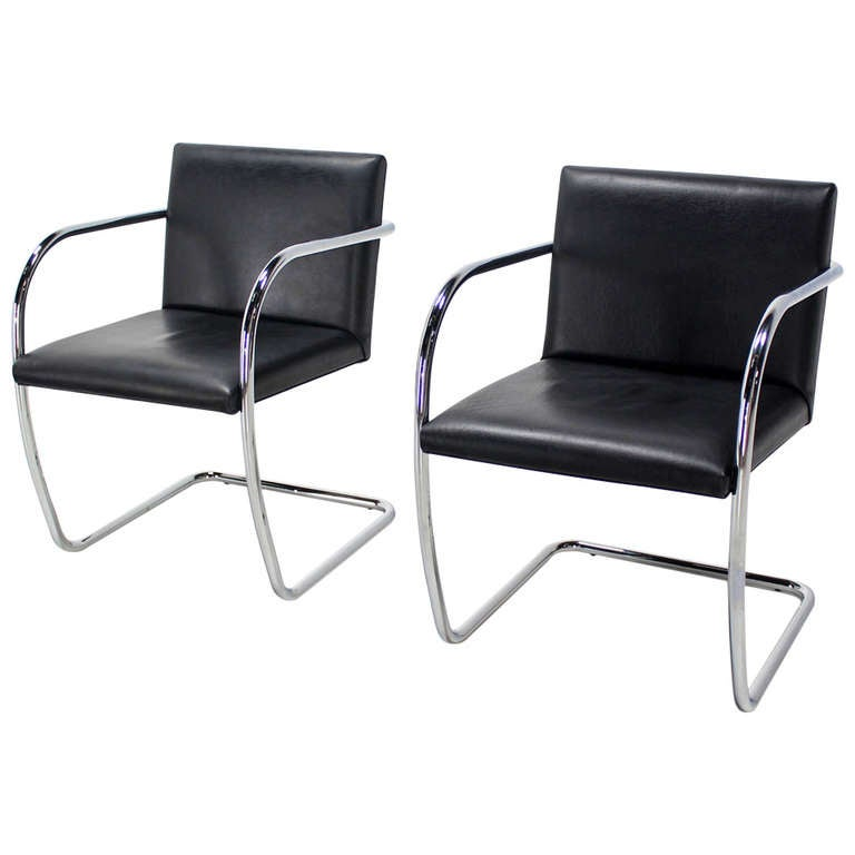 leather chrome chair charcoal gray covers pair of mid century modern and brno chairs bauhaus for sale
