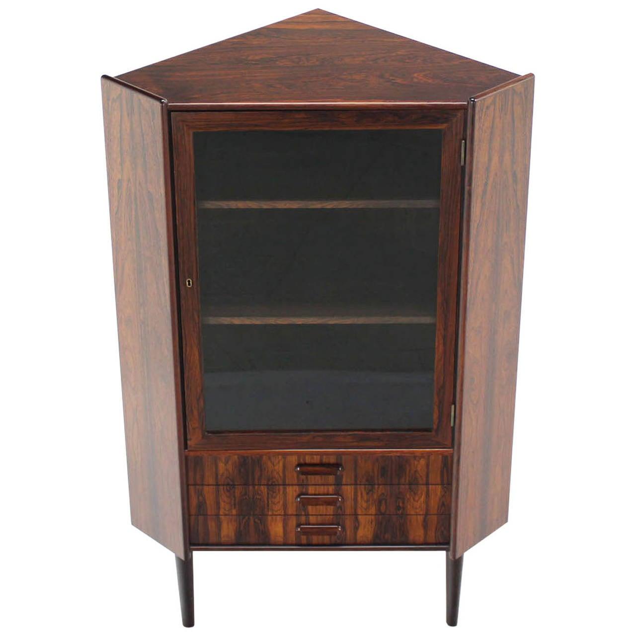 Rosewood Danish MidCentury Modern Corner Cabinet Glass