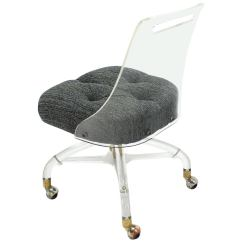 Clear Acrylic Swivel Office Chair Stretch Slipcovers T Cushion Mid Century Modern Lucite Desk At 1stdibs