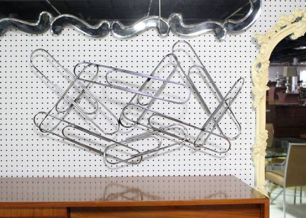Huge Curtis Jere Large Paper Clip Wall Sculpture