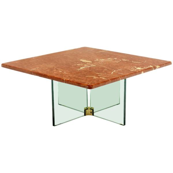 Marble Base Glass Top Coffee Table