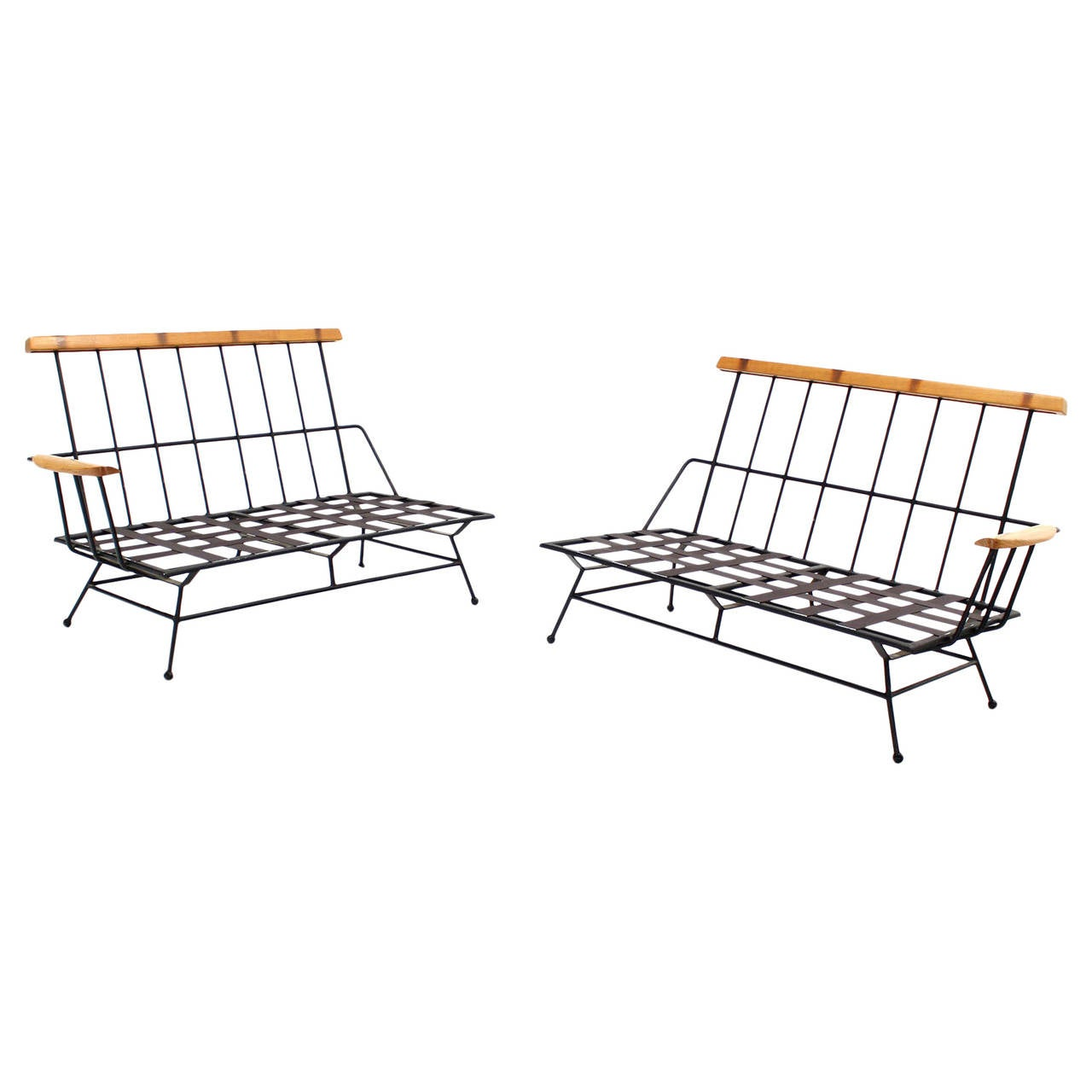 Mid Century Modern Sectional Two Part Sofa Frames