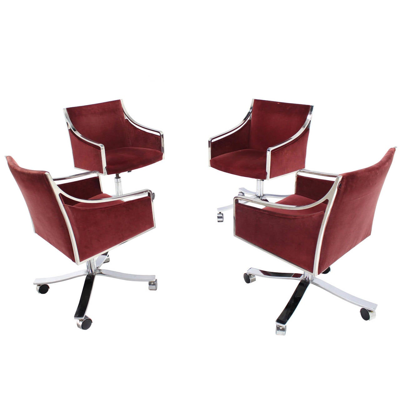 steel chair for office restoration hardware desk set of four stow davis borsani chairs on heavy