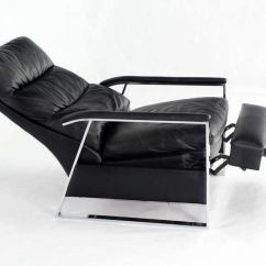 Leather Swivel Barrel Chair Eames Dining Chairs Mid-century Modern And Chrome Base Recliner By Baughman At 1stdibs