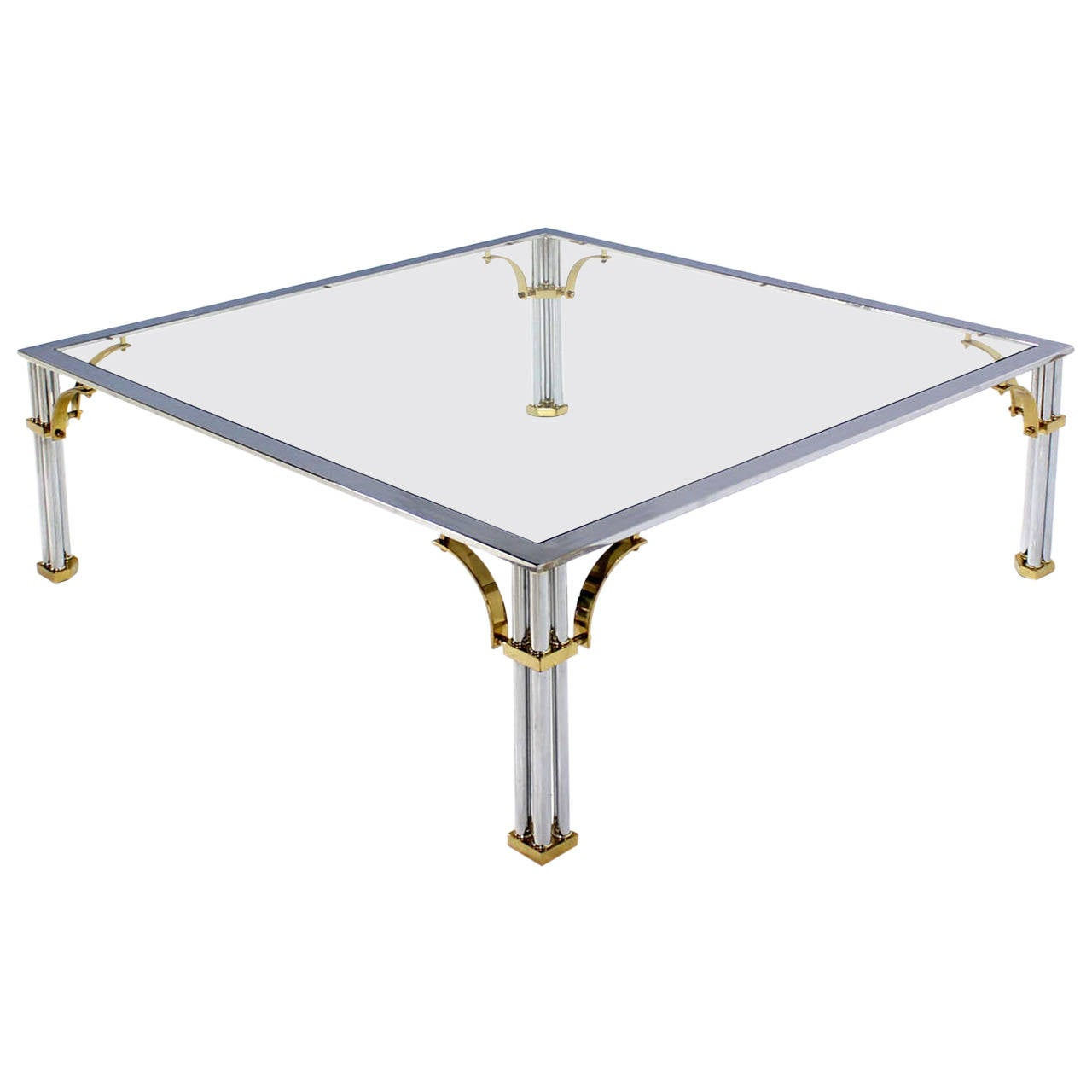 Large Square Mid Century Modern Brass Chrome And Glass Coffee Table