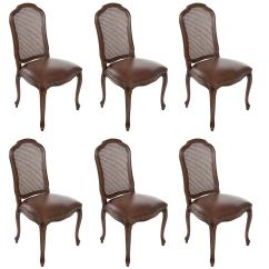 Set Of Chairs Rolling Shower Chair 6 Italian French Louis Xv Cane Back Dining Side