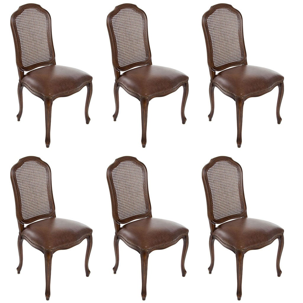 6 Dining Room Chairs Set Of 6 Italian French Louis Xv Cane Back Dining Side