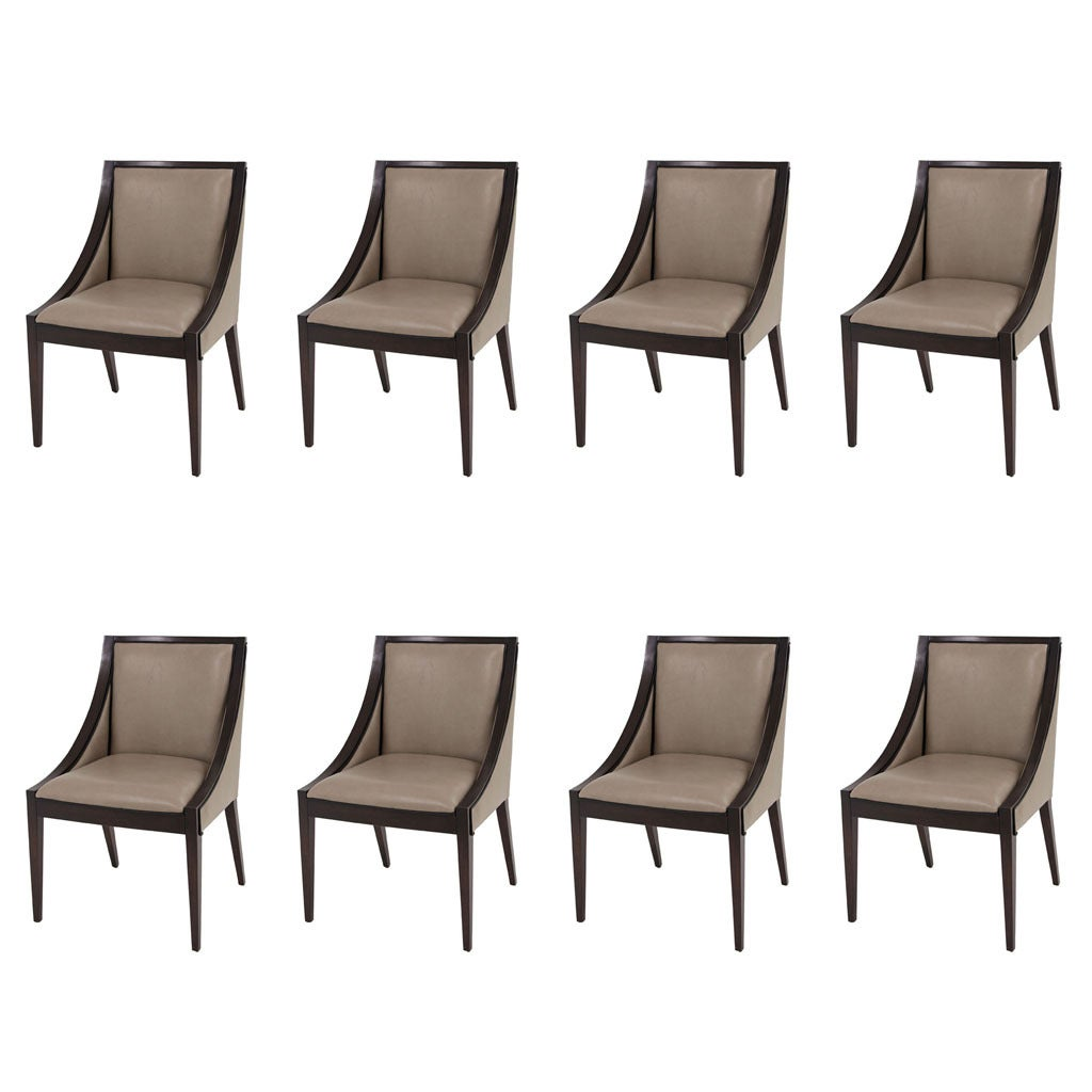 contemporary leather dining chairs baby chair swing seat set of 8 custom modern deco upholstered