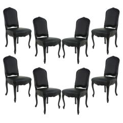 Dining Chairs For Sale Chair And A Half With Ottoman Set Of 8 Louis Xv Black Lacquered Leather