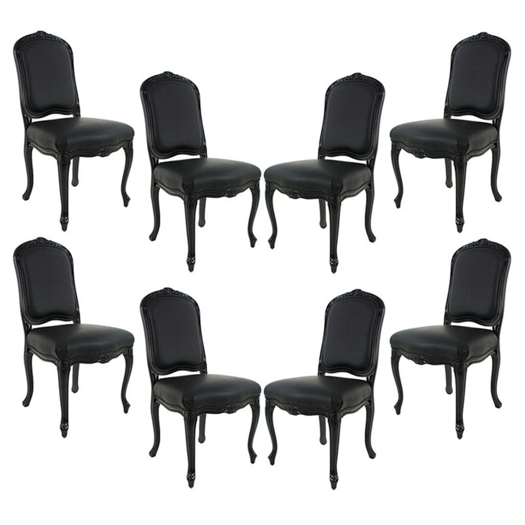 Black Leather Dining Chairs Set Of 8 Louis Xv Black Lacquered Leather Dining Chairs