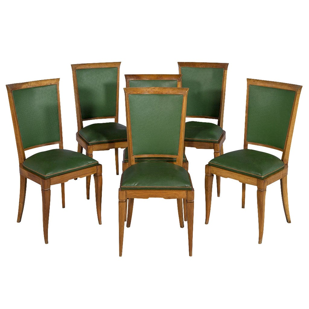 Artistic Chairs Set Of Six Art Deco Leather Dining Chairs At 1stdibs