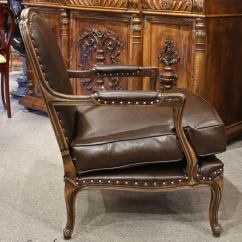 Bergere Chairs For Sale Outdoor Table And 6 Leather French Country Arm Chair Ottoman At 1stdibs