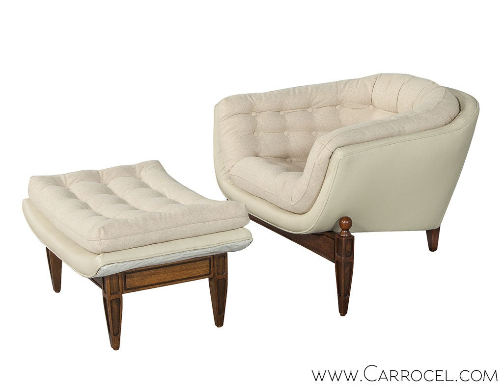 Tufted Barrel Chair and Ottoman at 1stdibs