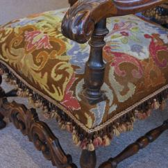 Woven Lounge Chair Graco 4 In One High Instructions Antique Late 1800's Gothic Needle Point Throne At 1stdibs
