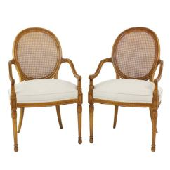 Cane Barrel Chair Office Height Pair Of Vintage French Back Accent Arm Chairs At 1stdibs